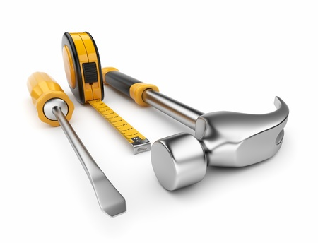 Hammer, screwdriver, tape measure 3d  Construction tools isolated on white background photo