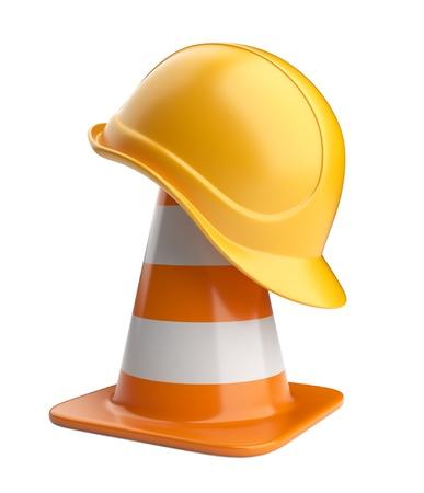 señales de transito: Conos de tráfico y de iconos casco carretera signo aislado sobre fondo blanco