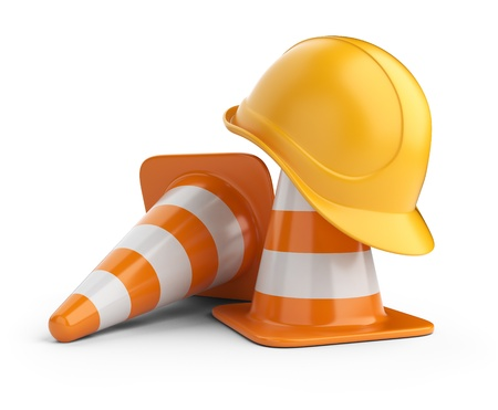 traffic cone: Traffic cones and hardhat  Road sign  Icon isolated on white background