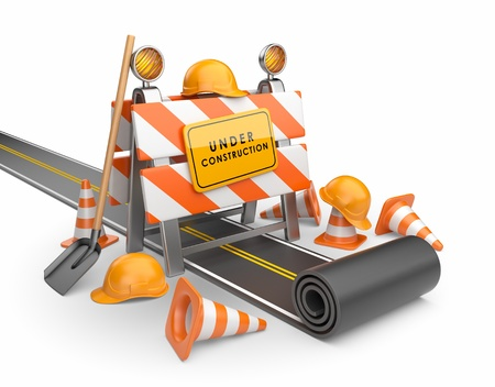 reconstruction: Under construction of road 3D  Build concept  3D illustration isolated on white