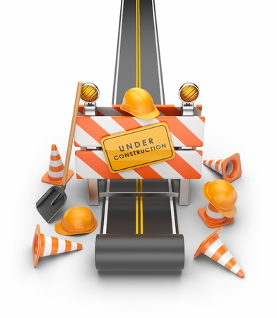 road work: Under construction of road 3D  Build concept  3D illustration isolated on white