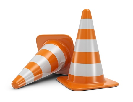traffic cone: Traffic cones  Road sign  Icon isolated on white background Stock Photo