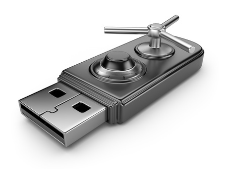 Data security concept  USB flash drive with lock  3D isolated on white