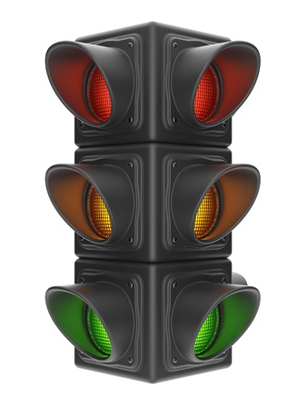 Traffic lights 3d  Road control of movement  Isolated on white background photo