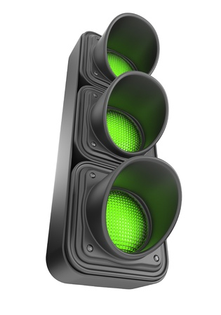 onward: Green traffic lights 3d  Movement road control  Isolated on white background