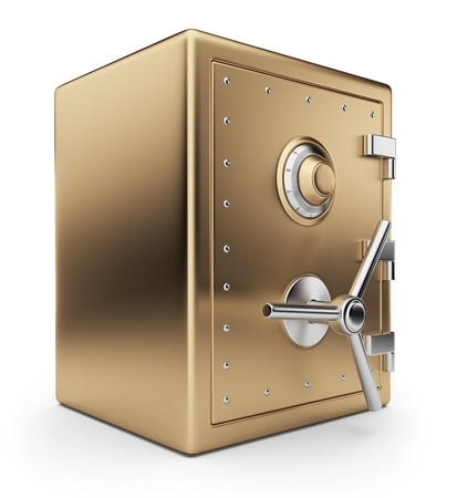 Golden safe box 3D  Bank vault  Isolated on white background photo
