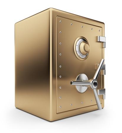 Golden safe box 3D  Bank vault  Isolated on white background