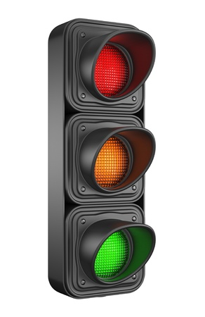 traffic control: Traffic lights 3d  Movement road control  Isolated on white background