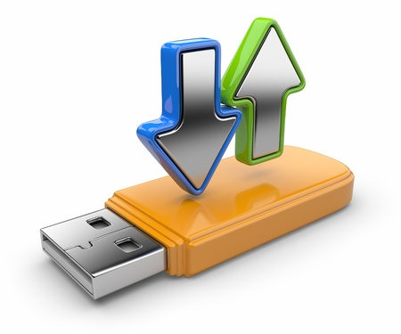 ftp: USB flash drive and arrow 3D  Data transfer  Isolated