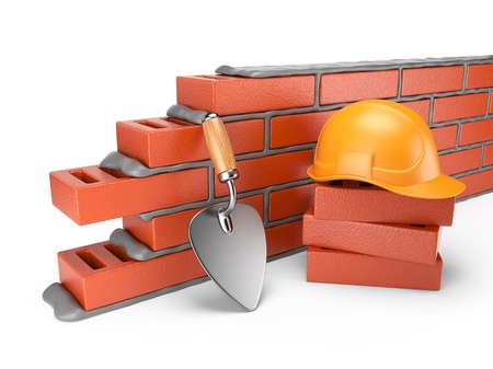 Trowel and bricks wall 3D  Work place  Isolated on white background Standard-Bild