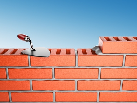 Trowel and bricks wall 3D, on blue sky  Work place Stock Photo - 13929969