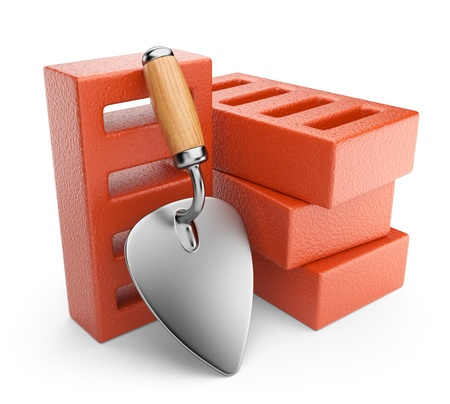 Trowel and bricks  Work tool  3D icon isolated on white background photo