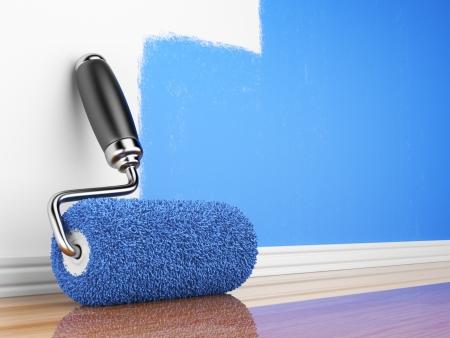 Painting of an empty wall  Renovation home  3D illustration Standard-Bild