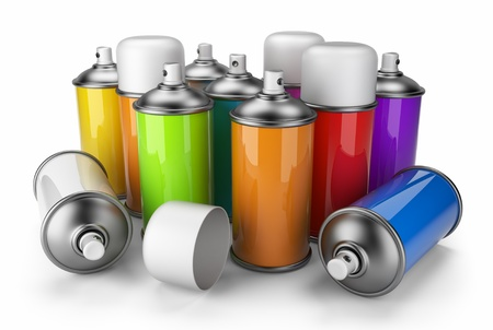 Group of spray can  3D icon isolated on white background Stock Photo