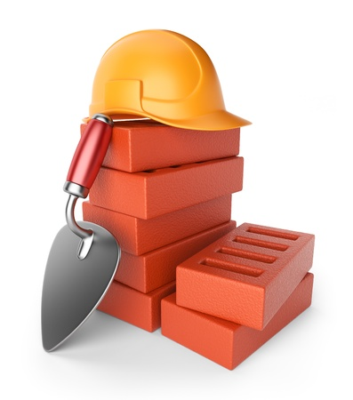 brick work: Trowel and bricks  Work equipment  3D icon isolated on white background Stock Photo