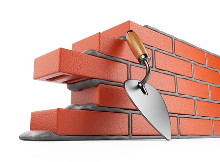 bricklayer: Trowel and bricks wall 3D  Work place  Isolated on white background Stock Photo