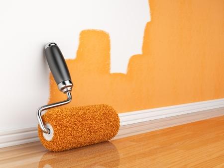 peintre en b�timent: Peinture d'un mur de r�novation illustration 3D � la maison vide Banque d'images