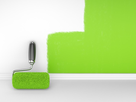 painting decorating: Painting of an empty wall  Renovation home  3D illustrationn Stock Photo
