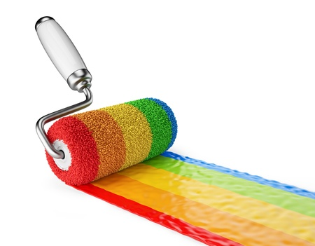 Multicolored paint roller  3D Icon isolated on white