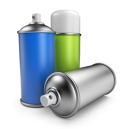 aerosol: Three spray can  3D icon isolated on white background