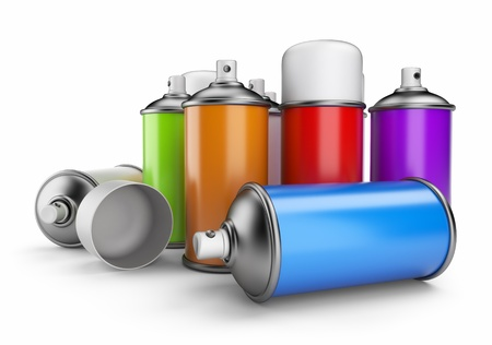paint container: Group of spray can  3D icon isolated on white background Stock Photo