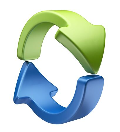 cycle arrows: Arrows icon 3D. Recycle symbol isolated on white Stock Photo