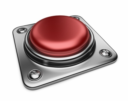 panic button: Empty alarm red button. 3D Icon isolated on white background  Stock Photo