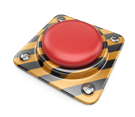 panic button: Empty alert red button. 3D Icon isolated on white background