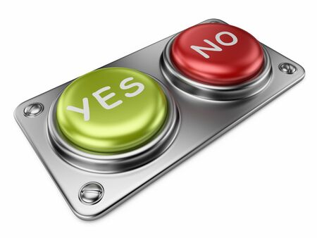 Yes and no buttons 3D. Choice concept. Isolated photo