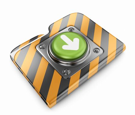 Download folder with button. 3D icon isolated on white Stock Photo - 14490953