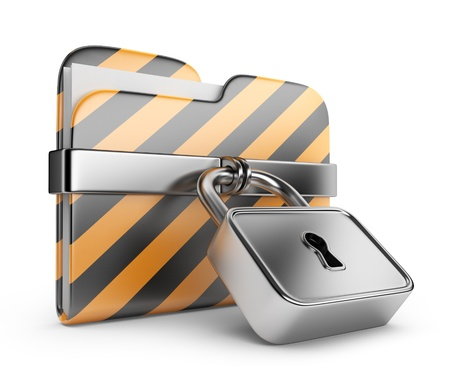 Folder with lock. Data security. 3D Icon isolated on white photo