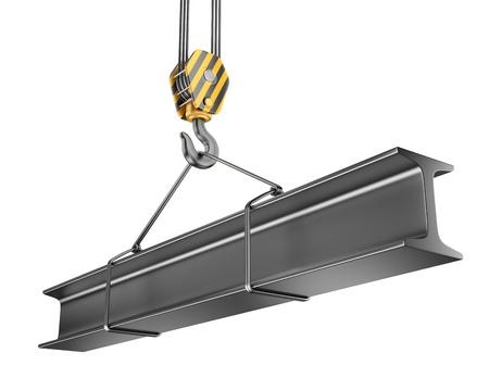 crane parts: Gancho de la gr�a con el 3D de acero viga. Aislado sobre fondo blanco Foto de archivo