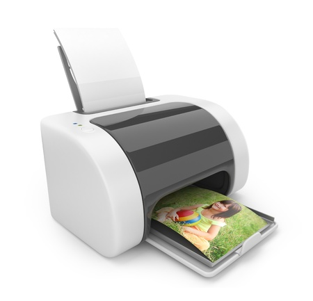 Printer 3D. Print  of photos. Icon isolated on white  photo