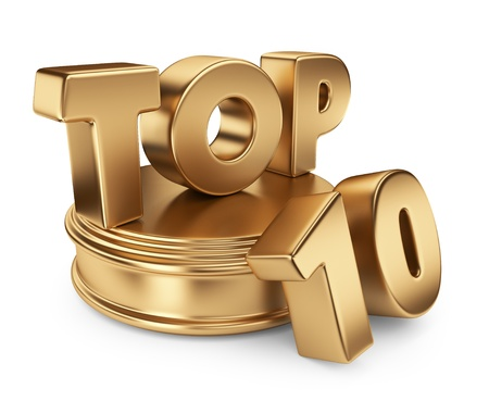 number ten: Golden top 10 on podium. 3D icon isolated on white background