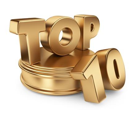 numero diez: Oro 10 primeros en el podio. Icono 3D aisladas sobre fondo blanco