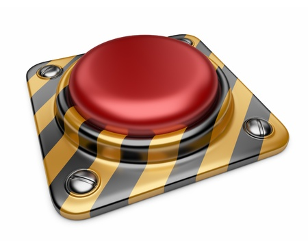 panic button: Alarm red button  3D Icon isolated on white background