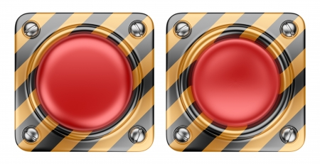 push button: Empty alert red button  3D Icon isolated on white background