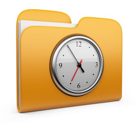 Folder with clock  Office concept  3D Icon isolated  photo
