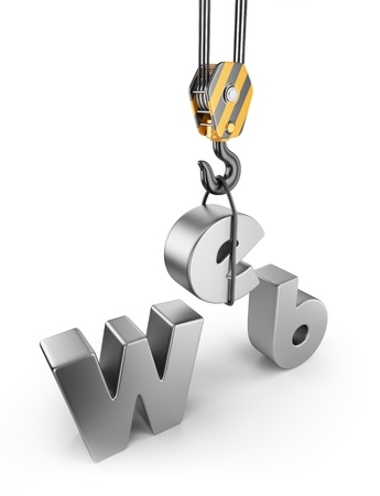 Construction web site  3D Isolated on white background Archivio Fotografico