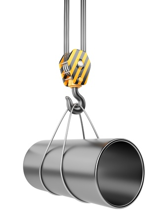 structural: Crane hook  with steel pipe 3D  Isolated on white background