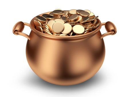Pot of golden coins  Traditional holiday  3D Icon isolated  photo