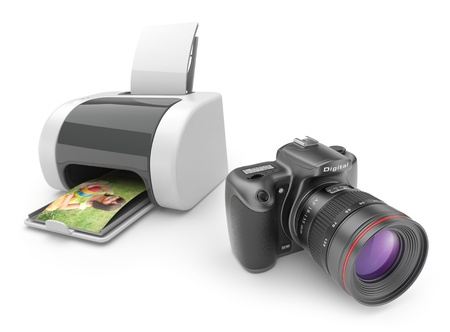color digital camera: Printer with photo camera 3D  Print  of photos  isolated