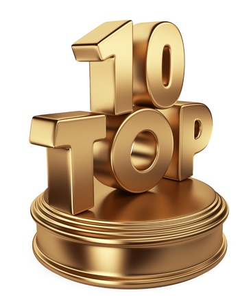 Golden top 10 on podium  3D icon isolated on white background