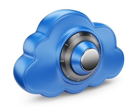Cloud and lock  Secure concept  3D Icon isolated Stock Photo - 14846797