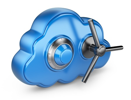 protected database: Cloud and lock  Secure concept  3D Icon isolated