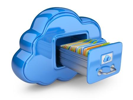 icono computadora: Almacenamiento de archivos en el icono de la nube ordenador 3D aislado en blanco Foto de archivo