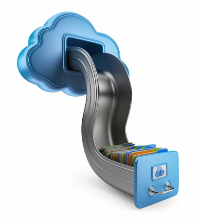 File storage in cloud  3D computer icon isolated on white Standard-Bild