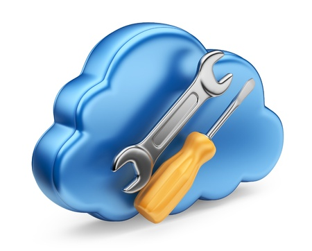 cloud computing services: Cloud with tools  3D Icon isolated on white background