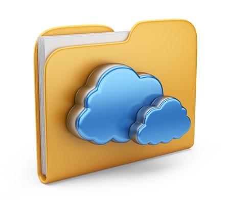 carpetas: Carpeta y nube icono de la computadora 3D aislado en blanco Foto de archivo