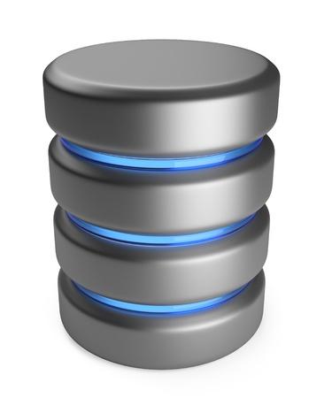 disco duro: Base de datos de almacenamiento 3D concepto 3D icono aislado sobre fondo blanco Foto de archivo